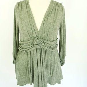 Boston Proper Gray Rosette Drape Knit Top SHIRT L